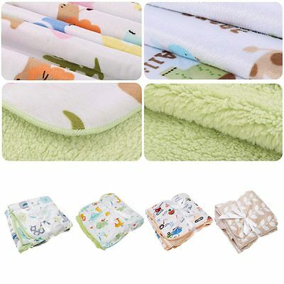 Soft Warm Baby Fleece Bedding Blanket Infant Sleeping Swaddle Stroller Wrap New