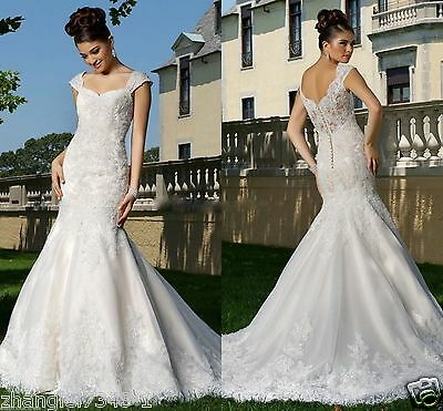 New White/ivory Lace V Neck Wedding Dresses Bridal Gown Mermaid Size Custom Made