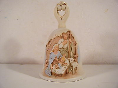 """Christmas Nativity Bell Collectible Porcelain Patina 5.5"""" Tall By Homco"""