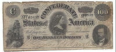 $100 Confederate States Note 1864 Richmond Portrait Engraving