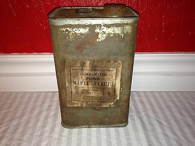 Antique Maple Syrup Can 1 Gallon Moravia NY New York Rural Route 5 Howard Fuller