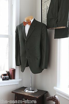 VTG 1960s Clipper Craft Wool Suit 43R 38/28 Dark Green 3 Button Flat Front Pants
