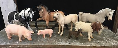 Schleich Farm Animal Figurines - Horses Pigs Goats Lot Of 8
