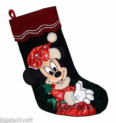 NEW Disney World Parks Santa Minnie Mouse Plush Christmas Holiday Stocking
