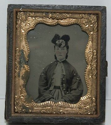 9th Plate Ruby Glass Ambrotype 1/2 Case  Young Woman Fancy Hat Tinted Cheeks