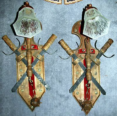 2 Vtg Deco Oriental Japanese Ninsa Sconces Wall Light Chandelier Fixtures