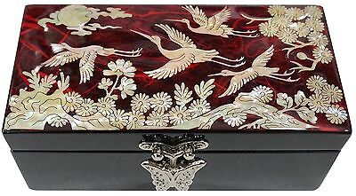Lacquer inlaid mother of pearl wood  trinket jewelry jewel box finetree red