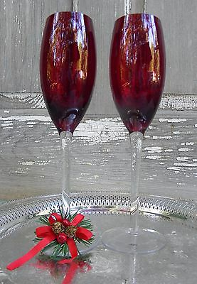Set of 2 Tall Ruby Red Champagne Toasting Flutes