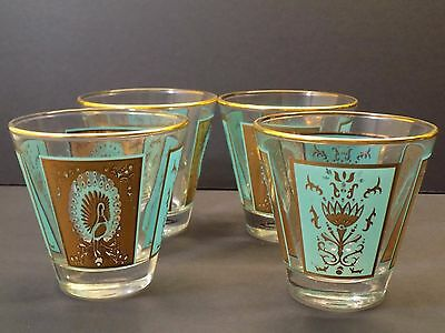Vintage 1950's to 1960's Turquoise & Gold PEACOCK Whiskey Rocks Cocktail Glasses