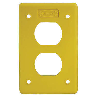 HUBBELL WIRING DEVICE-KELLEMS Duplex Cover Plate, Non-Metallic, Yellow HBLP8FSY