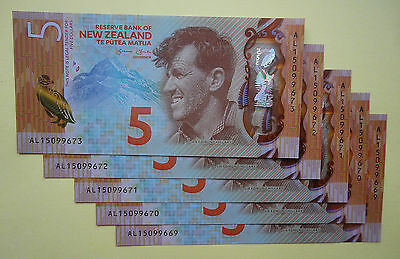 NEW ZEALAND 2015  $5 - **BANKNOTE OF THE YEAR 2015 WINNER**  New Design - UNC