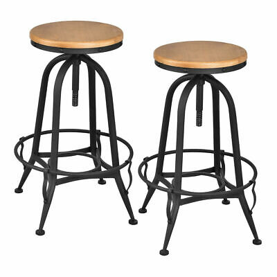Strange Set Of 2 Vintage Bar Stools Industrial Metal Design Wood Top Squirreltailoven Fun Painted Chair Ideas Images Squirreltailovenorg