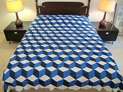 """GRAPHIC Vintage Hand Sewn All Cotton TUMBLING BLOCKS Quilt TOP; 83"""" x 73"""""""