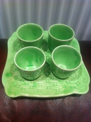 Vintage Art Deco 4 Egg Cups & Tray
