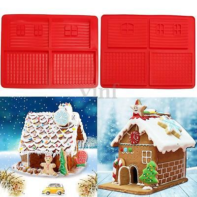 Christmas Gingerbread House Silicone Mold Waffle Chocolate Mould Cake Decor Xmas