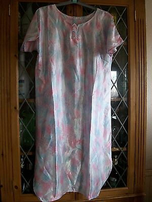 Pink & Blue Pastel Pattern Satin Indian Ss Tunic Top Uk12 **gc**