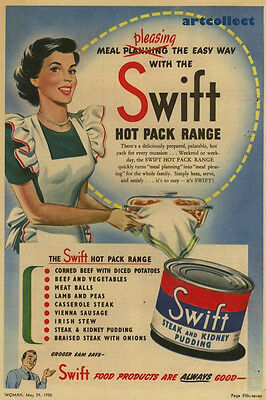 Original Vintage Australian Ad: Swift Hot Pack Range (1950)