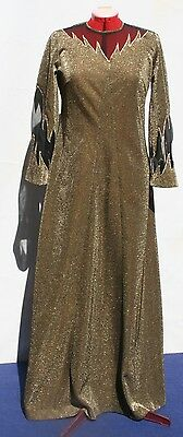 VINTAGE DRESS FORMAL 70s 'A' Line FLARED Sleeves, GOLD, NEW YEARS EVE  Large
