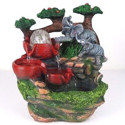 """Water Fountain w/ LED Lights Elephants Playing Zen Indoor Home Decor 10.5""""H New"""