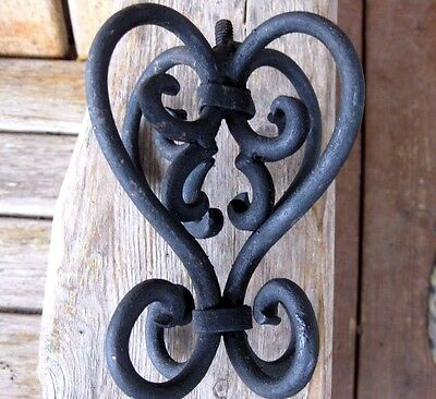 Vintage Architectural Wrought Iron Finial Topper Metal Antique Post Salvage 1