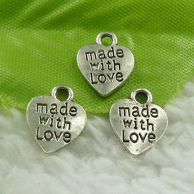 12x10mm Free Ship 560 pcs tibet silver made with love heart charms B4732