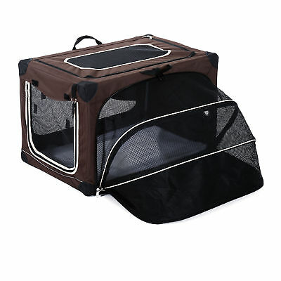 "29.9"" Expanding Soft Pet Carrier Travelling Kennel Box Bag Sided Foldable Coffee"