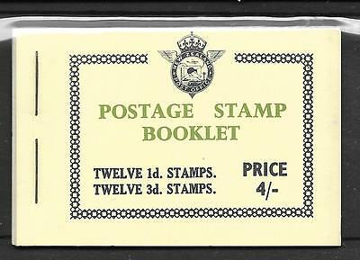 NEW ZEALAND BOOKLET SG SB20a 1/4/1954 COMPLETE PANES + AIRMAIL LABELS.