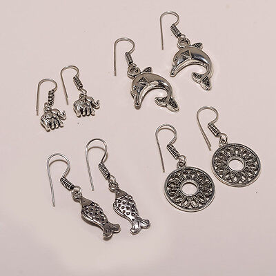 Wholesale 4Pair Ovai Play 925 Silver Plated Dangler Antique Designer Earring