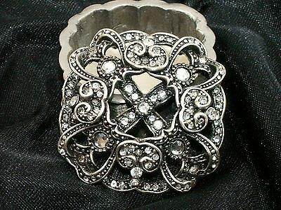 Collectible Filigree Antique Silver Pewter Trinket Box With Crystals