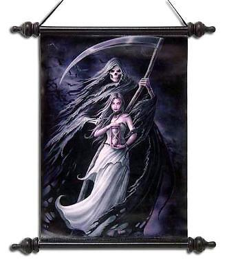 "Anne Stokes Scroll ""summon The Reaper"" Gothic Reaper With Maiden"