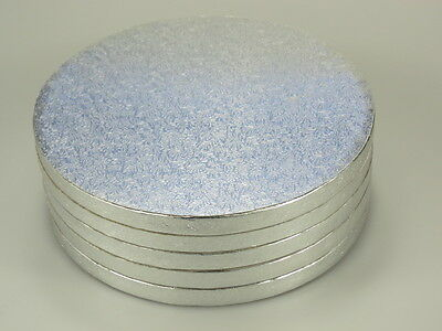 """Cake Board/Drum 5 PCS  14"""" Corrugated  Round/Silver  13mm Thickness"""