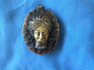 vintage copper and brass pendant  poss. indian
