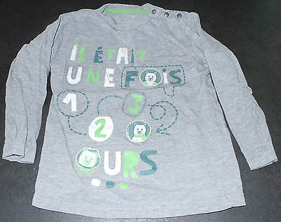 Tee Shirt Gris Ours 6 Ans Vertbaudet Manches Longues