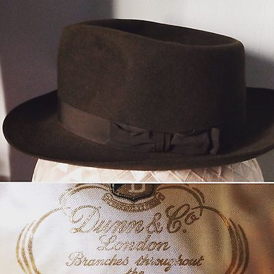 "Vintage 1950s 1960s Dunn & Co Trilby Fedora Hat A1 Condition 21"" S/M"