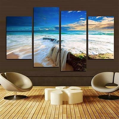 4 Panels Sea Seaside Canvas Print Wall Art Painting Picture Home Decor Unframed