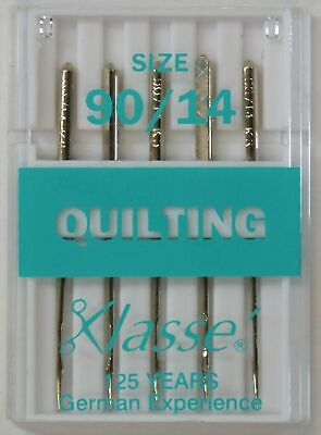 Klasse Sewing Machine Needles, QUILTING Size 90 / 14, Pack of 5 Needles
