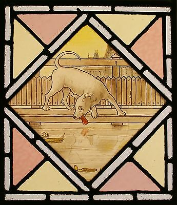Antique Hand LEADED Painted STAINED GLASS - Aesop's Fables - We Ship Worldwide