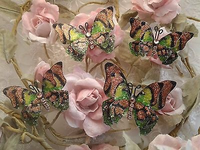4 x Hand Made Super Glamourous Double Layered Glittery Butterflies