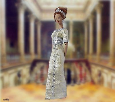"""Ooak Gorgeous Royal Gown .brocade With  Silver Color Decorations   Soft Color""""16"""