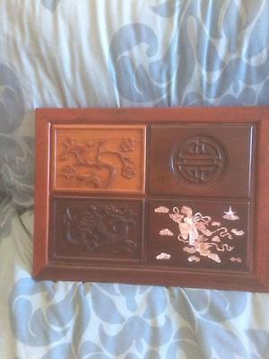 Chinese Hardwood Wall Plaque With Mother Of Pearl Inlay Scene To One Panel