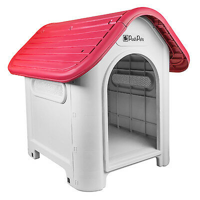 Posh Pets High Quality Plastic Dog, Puppy Kennel, Dog House, Shelter (Ruby)