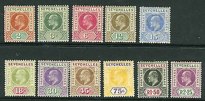 SEYCHELLES-1906 2c to 2r25.  A fine mounted mint set of 11 Sg 60-70