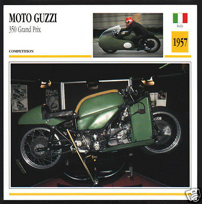 1957 Moto Guzzi 350cc Grand Prix Italy Motorcycle Photo Spec Sheet Info Card