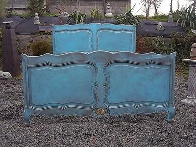 French Stunning  Provincial Painted Double Bedstead Style Louis Xv
