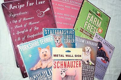 Wholesale job lot gifts. 9 Shabby chic metal signs. Dogs etc NEW