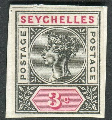 SEYCHELLES-1890-1900 3c IMPERF COLOUR TRIAL in Black & Red fine 4 margin on card
