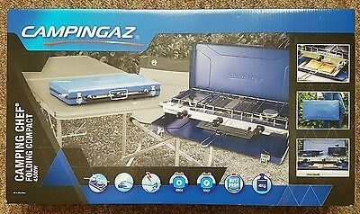 Campingaz Camping Chef Folding Double 4500W Burner Stove Portable Cooker + Grill