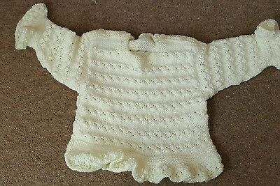 Hand Made Pale Yellow Knitted Jumper 3-9months  **BRAND NEW**