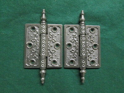 2 Eastlake Style Steeple Top Door Hinges Antique Door Hardware Salvage Set 4