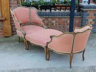 20thC FRENCH ANTIQUE DUCHESSE BRISEE CHAISE or ARMCHAIRS & STOOL